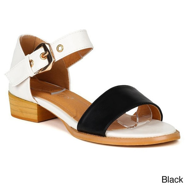 Bumper Women's 'ROME01' Back Closed Buckle Ankle Strap Chunky Sandals