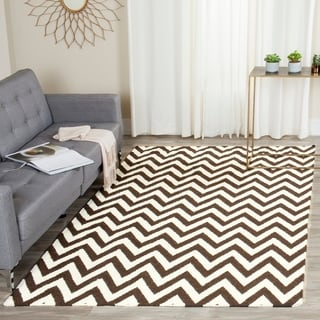 Safavieh Hand-woven Chevron Reversible Dhurries Brown/ Ivory Wool Rug (10' x 14')