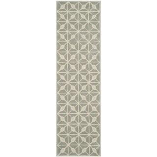 Isaac Mizrahi by Safavieh Fashion Grid Dark Grey/ Taupe Wool Rug (2'3 x 8')