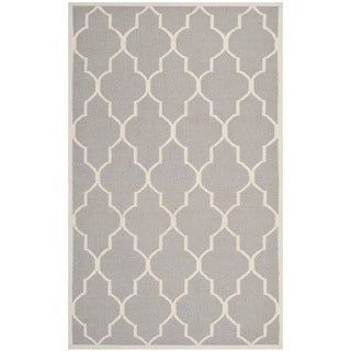 Safavieh Hand-woven Moroccan Reversible Dhurries Dark Grey/ Ivory Wool Rug (10' x 14')