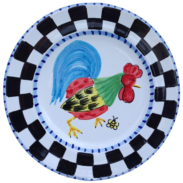 Hand-painted 'Proud Fools' Rooster 4-piece Decorative Plate Set (Italy)