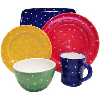 Hand-painted 'Pallini' Polka Dot 5-piece Place Setting (Italy)
