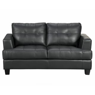 Samuel Contemporary Black Bonded Leather Loveseat