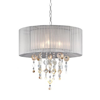 Moon Jewel 21-inch 1-light White/ Capiz Shell Ceiling Lamp