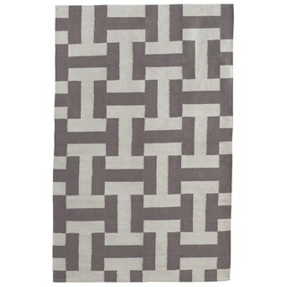 Indo Hand-woven Canal Dark Grey/ Ash Contemporary Geometric Area Rug (6' x 9')