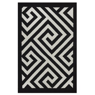 Indo Hand-woven Broadway White/ Black Contemporary Geometric Area Rug