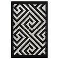 Indo Hand-woven Broadway White/ Black Contemporary Geometric Area Rug