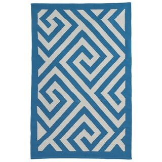 Indo Hand-woven Broadway Enchanting Blue/ White Modern Geometric Area Rug (6' x 9')
