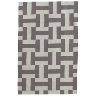 Indo Hand-woven Canal Ash/ Dark Grey Geometric Area Rug (3' x 5')