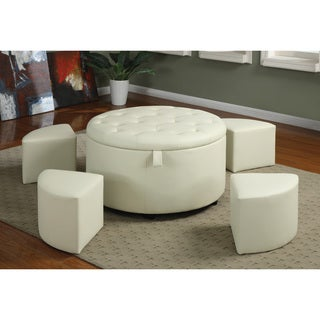 Round Cream Bonded Leather 5-piece Ottoman Set
