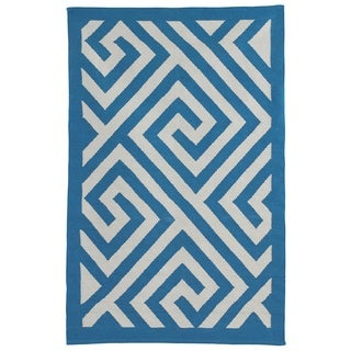 Indo Hand-woven Broadway Enchanting Blue/ White Geometric Area Rug (4' x 6')