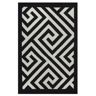 Indo Hand-woven Broadway Black/ White Contemporary Geometric Area Rug (3' x 5')