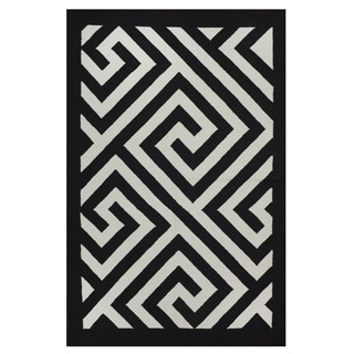 Indo Hand-woven Broadway White/ Black Contemporary Area Rug (4' x 6')