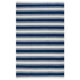 Indo Hand-woven Lucky Turkish Sea Blue/ White Stripe Area Rug (5' x 8')