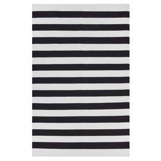 Indo Hand-woven Nantucket Black/ Bright White Contemporary Stripe Area Rug (8' x 10')