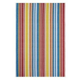 Indo Hand-woven Rio Multi/ Orange Stripe Flat-weave Area Rug (5' x 8')