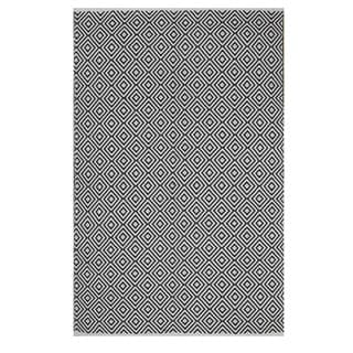 Indo Hand-woven Veria White/ Black Contemporary Geometric Area Rug (5' x 8')