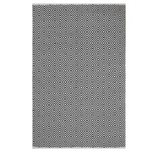 Indo Hand-woven Veria White/ Black Geometric Flat-weave Area Rug (6' x 9')