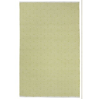 Indo Hand-woven Veria Green/ Off-white Contemporary Geometric Area Rug (5' x 8')