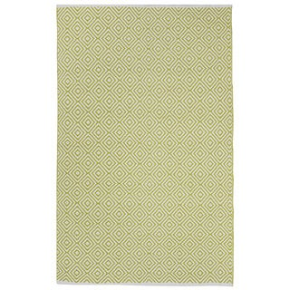 Indo Hand-woven Veria Green/ Off-white Geometric Flat-weave Area Rug (4' x 6')
