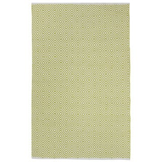 Indo Hand-woven Veria Green/ Off-white Contemporary Flat-weave Area Rug (8' x 10')