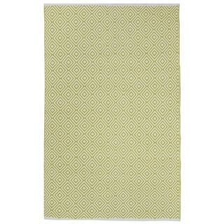 Indo Hand-woven Veria Green/ Off-white Geometric Area Rug (3' x 5')
