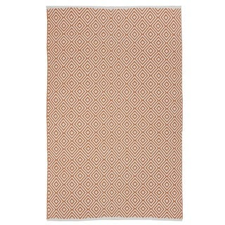 Indo Hand-woven Veria Off-white/ Orange Contemporary Geometric Area Rug (5' x 8')