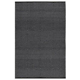 Indo Hand-woven Zen Dark Black/ Bright White Geometric Flat-weave Area Rug (3' x 5')
