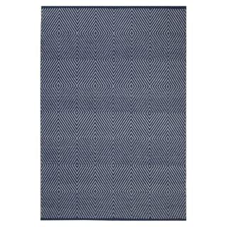 Indo Hand-woven Zen Dark Bright White/ Blue Geometric Flat-weave Area Rug (5' x 8')