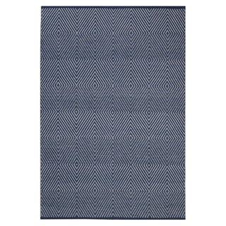 Indo Hand-woven Zen Bright White/ Navy Geometric Flat-weave Area Rug (6' x 9')
