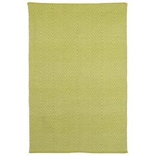 Indo Hand-woven Zen Dark Citron/ Bright White Contemporary Geometric Area Rug (4' x 6')