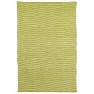 Indo Hand-woven Zen Dark Citron/ Bright White Contemporary Geometric Area Rug (5' x 8')