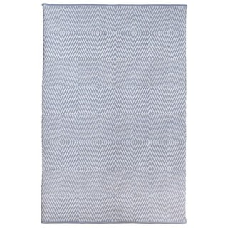 Indo Hand-woven Zen Eventide Blue/ Bright White Contemporary Geometric Area Rug (6' x 9')
