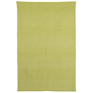 Indo Hand-woven Zen Dark Citron/ Bright White Contemporary Geometric Area Rug (3' x 5')
