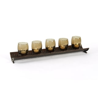 Elements Amber 5-light 23-inch Metal Linear Candle Holder