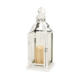 Elements Leafy White 15-inch Metal LED Lantern