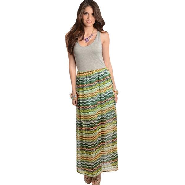 Shop The Trends Women's Grey/Green Maxidress