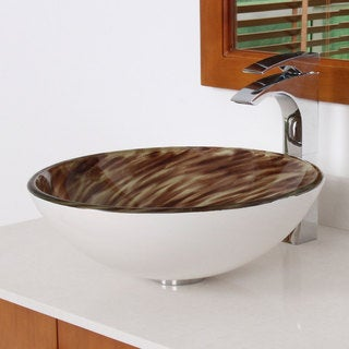 Elite 1401 Modern Brown/ White Tempered Glass Vessel Sink