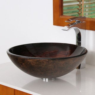 Elite 1402 Modern Bronze Tempered Glass Bathroom Vessel Sink