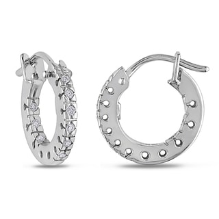 Miadora 18k White Gold 1/6ct TDW Diamond Hoop Earrings (G-H, SI1-SI2)