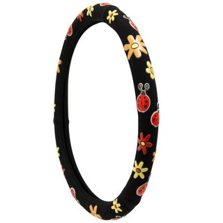 Colorful Red Lady Bugs with Daisy Flowers Car Steering Wheel Cover Universal 15-inch
