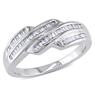 Miadora 14k White Gold 1/3ct TDW Baguette Cut Diamond Ring (G-H, I1-I2)