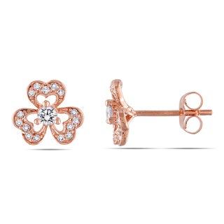 Miadora 14k Rose Gold 1/3ct TDW Diamond Flower Earrings (G-H, I1-I2)