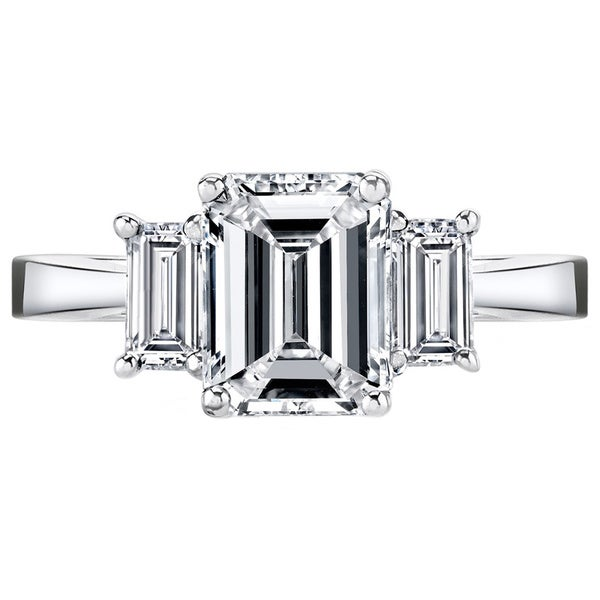 Platinum 3 1/2ct TDW Certified Emerald-cut 3-stone Diamond Ring (I-J, SI1-SI2)