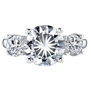 Platinum 2 3/4ct TDW Certified Round 3-stone Diamond Engagement Ring (H-I, VS1-VS2)