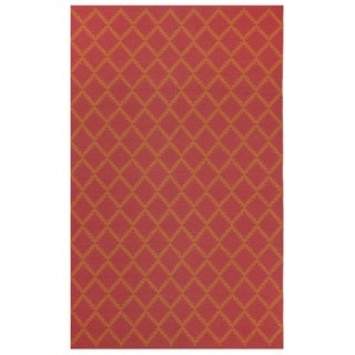 Indo Hand-woven Marrakesh Rouge Red/ Orange Contemporary Geometric Area Rug (3' x 5')