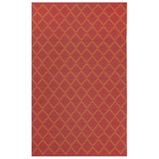 Indo Hand-woven Marrakesh Orange/ Rouge Red Contemporary Geometric Area Rug (5' x 8')