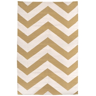 Indo Hand-woven Lexington Tan/ Beige Contemporary Geometric Area Rug (6' x 9')