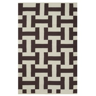 Indo Hand-woven Canal Coffee Brown/ Beige Contemporary Geometric Area Rug (8' x 10')
