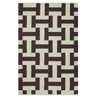 Indo Hand-woven Canal Coffee/ Beige Contemporary Geometric Area Rug (5' x 8')